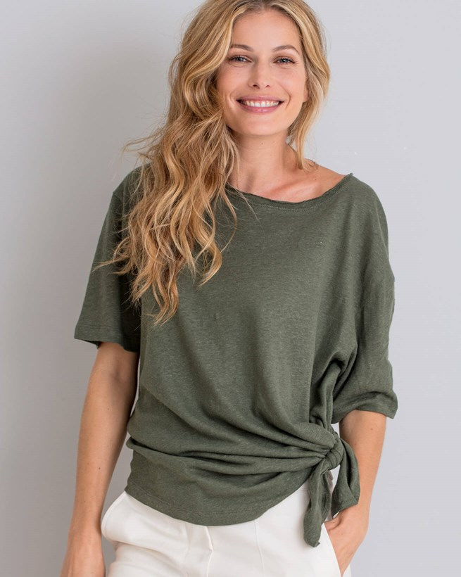Linen Cotton Tie Waist Top