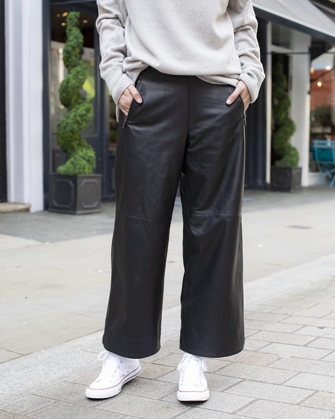 Cropped Wide Leg Leather Trousers
