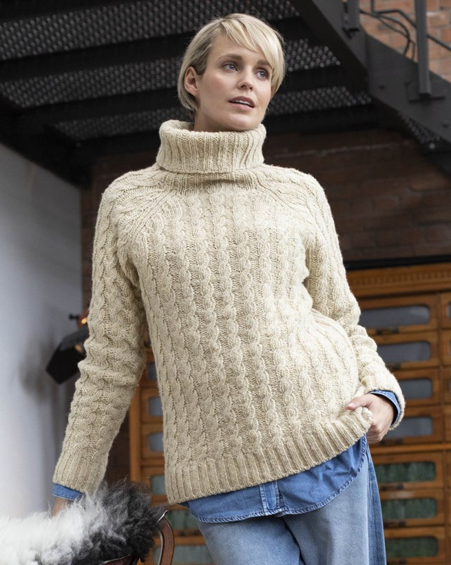Donegal Cable Roll Neck