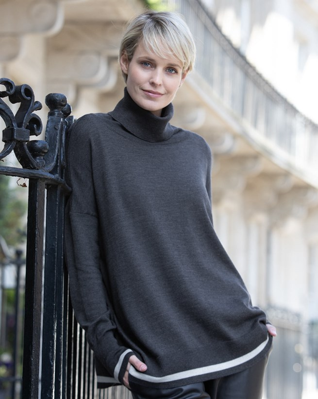 Slouchy Fine Knit Roll Neck
