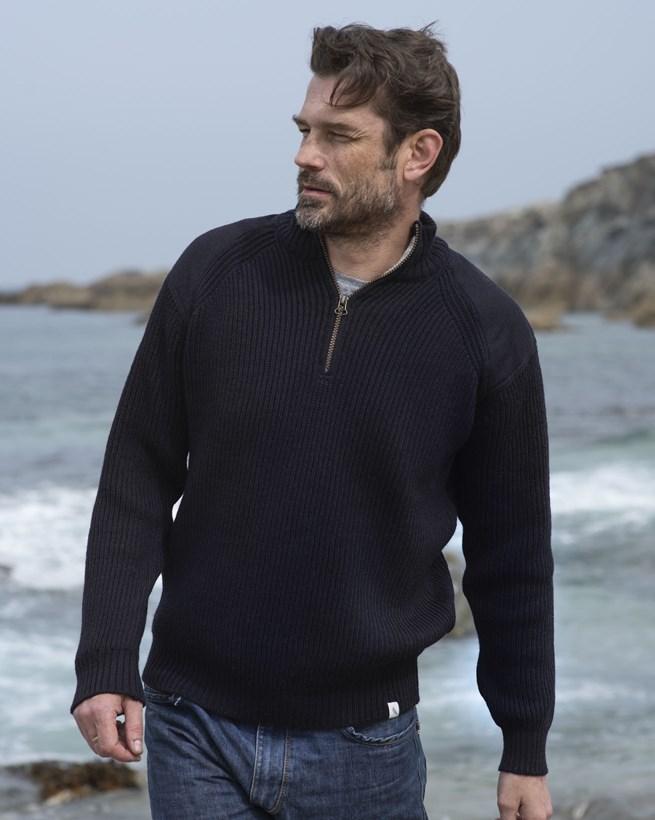 Men's Ribbed Half Zip Sweater