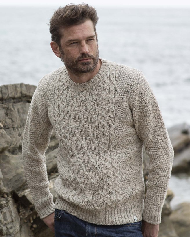 Men's Cable Crew Neck Sweater