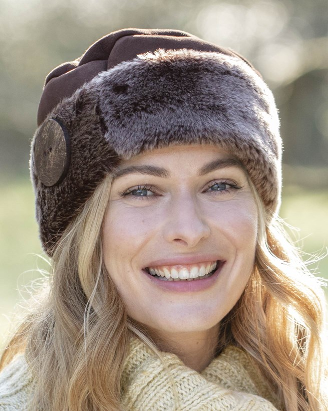 Shearling Button Hat
